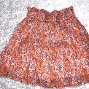 Orange and pink floral pleated mini skirt